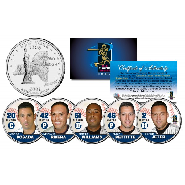 Yankees Fab Five Statehood New York Quarters Us 5 Coin Set Jeter Mariano Posada Pette Bernie