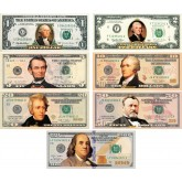 Set of all 7 - COLORIZED 2-SIDED U.S. Bills Currency $1 / $2 / $5 / $10  /$20 / $50 / $100