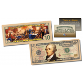 2-Sided Colorized Genuine Legal Tender U.S. $10 Ten-Dollar Bill - Declaration of Independence Reverse