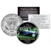 1931 BUGATTI - ROYALE KELLNER COUPE - Most Expensive Cars Sold at Auction - Colorized JFK Half Dollar U.S. Coin