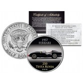 1957 FERRARI - 250 TESTA ROSSA - Most Expensive Cars Sold at Auction - Colorized JFK Half Dollar U.S. Coin