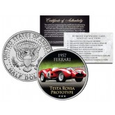 1957 FERRARI - TESTA ROSSA PROTOTYPE - Most Expensive Cars Sold at Auction - Colorized JFK Half Dollar U.S. Coin