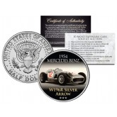1954 MERCEDES BENZ - W196R SILVER ARROW - Most Expensive Cars Sold at Auction - Colorized JFK Half Dollar U.S. Coin