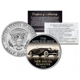 1936 MERCEDES BENZ - 540K SPECIAL ROADSTER - Most Expensive Cars Sold at Auction - Colorized JFK Half Dollar U.S. Coin