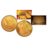 1921 Genuine MORGAN Silver Dollar 24K GOLD Plated U.S. Coin with Capsule & Certificate