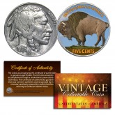 1930's 5 Cent Original Indian Head Buffalo Nickel Full Date - COLORIZED