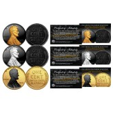 1943 Genuine Steel Wartime Wheat Penny U.S. Coin SET of 3 Rare Metal Versions (Black Ruthenium, Silver, 24K Gold)