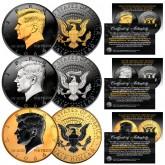 1964 Silver Kennedy Half Dollar SET of 3 Rare Metal Versions (Black Ruthenium, Silver, 24K Gold)