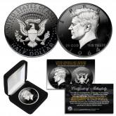 1964 BU Genuine Silver Kennedy Half Dollar U.S. Coin 2-Sided BLACK RUTHENIUM & Silver Highlights with Box