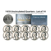 1970 QUARTERS Uncirculated U.S. Coins Direct from U.S. Mint Cello Packs (QTY 10)