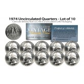 1974 QUARTERS Uncirculated U.S. Coins Direct from U.S. Mint Cello Packs (QTY 10)