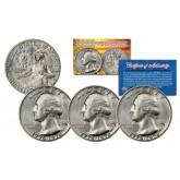 1976 S Washington Bicentennial Quarter Gem BU 40% Silver US Coin with COA & CAPSULE (QTY 3)