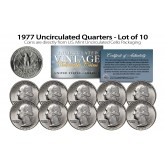 1977 QUARTERS Uncirculated U.S. Coins Direct from U.S. Mint Cello Packs (QTY 10)