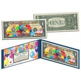 HAPPY BIRTHDAY Keepsake Gift Colorized $1 Bill U.S. Genuine Legal Tender with Folio