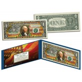 United States of America Flag - Old Design - Legal Tender $1 Bill FULLY COLORIZED