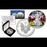 2016 1 oz Pure Silver American Eagle * 30th Anniversary * $1 Coin .999 Fine BU Colored in Capsule with Deluxe Box