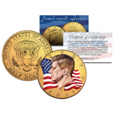Colorized - FLOWING FLAG - 2016 JFK Kennedy Half Dollar US Coin (P Mint) - 24K Gold Plated