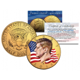 Colorized - FLOWING FLAG - 2016 JFK Kennedy Half Dollar US Coin (D Mint) - 24K Gold Plated