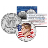 Colorized - FLOWING FLAG - 2016 JFK John F Kennedy Half Dollar U.S. Coin (P Mint)