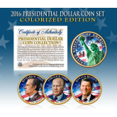 2016 Presidential $1 Dollar U.S. COLORIZED Complete 3-Coin Set with Capsules & COA