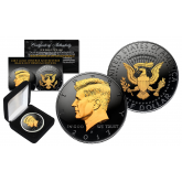 Black RUTHENIUM 2-SIDED 2017 Kennedy Half Dollar U.S. Coin with 24K Gold Clad JFK Portrait on Obverse & Reverse (P Mint) in Deluxe Display Felt Box