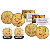 24K GOLD PLATED 2017 JFK Kennedy Half Dollar U.S. 2-Coin Set - Both P & D MINT - with Capsules and COA