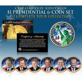2016 Presidential $1 Dollar Colorized 2-Sided * 6-Coin Set * Living President Series - Carter, HW Bush, Clinton, Bush, Obama, Trump