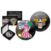 Dual BLACK RUTHENIUM COLORIZED 2-Sided 1 Troy Oz. 2018 Silver Eagle U.S. Coin with Deluxe Felt Display Box