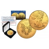 2018 Genuine 1 oz .999 Fine Silver American Eagle U.S. Coin * Full 24KT Gold Plated * with Deluxe Felt Display Box