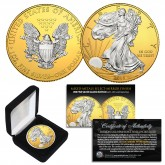 2018 Silver Eagle Uncirculated 1 oz Ounce U.S. Coin * Mixed-Metals Select Mirror Finish * .999 FINE SILVER GILDED with 24K Gold Backdrop (with BOX)