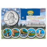 2018 America The Beautiful COLORIZED Quarters U.S. Parks 5-Coin Set with Capsules