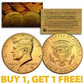 24K GOLD PLATED 2019-P JFK Kennedy Half Dollar Coin with Capsule (P Mint) BUY 1 GET 1 FREE