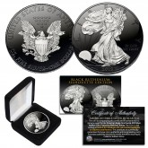 Black RUTHENIUM SILHOUETTE Edition 1 oz .999 Fine Silver 2019 American Eagle Coin with Deluxe Felt Display Box