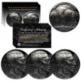 Lot of 3 Various Full Date BUFFALO NICKELS US Coins - BLACK RUTHENIUM - Indian Head Nickels