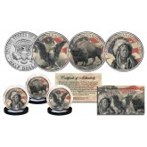 United States HISTORICAL SYMBOLS Genuine U.S. JFK Kennedy Half Dollar 3-Coin Set - Black Eagle / Buffalo Bison / Indian Chief