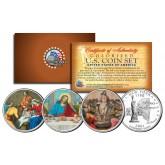 JESUS CHRIST - Nativity - Last Supper - Resurrection - Colorized New York State Quarters 3-Coin Set