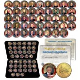 ALL 45 United States PRESIDENTS Complete Set Colorized Washington DC Quarters 24K Gold Plated with DELUXE BOX and FULL COLOR CERTIFICATE