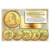 2002 US Statehood Quarters 24K GOLD PLATED - 5-Coin Complete Set - with Capsules & COA