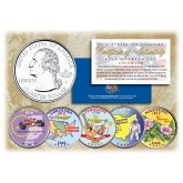 2002 US Statehood Quarters COLORIZED Legal Tender - 5-Coin Complete Set - with Capsules & COA