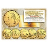 2003 US Statehood Quarters 24K GOLD PLATED - 5-Coin Complete Set - with Capsules & COA