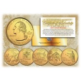 2008 US Statehood Quarters 24K GOLD PLATED - 5-Coin Complete Set - with Capsules & COA