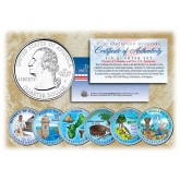 2009 DC & US TERRITORIES Quarters COLORIZED Legal Tender - 6-Coin Complete Set - with Capsules & COA