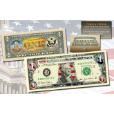 $1 Currency Dual Overlay * Patriotic Hologram & Polychrome Color * Genuine Legal Tender U.S. $1 Bill 2-Sided