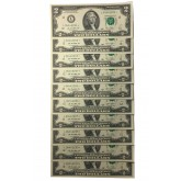 10 Consecutive Serial Number 2013 US $2 STAR NOTES Two-Dollar Bills Uncirculated in 10-Pocket Portfolio Album