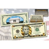 $5 Currency Dual Overlay * Gold Hologram & Polychrome Color * Genuine Legal Tender U.S. $5 Bill 2-Sided