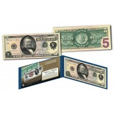 1886 Morgan Silver Dollar Back $5 Silver Certificate Banknote designed on Modern $5 Bill