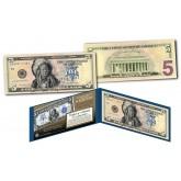 Native American Indian Chief 1899 Designed NEW $5 Bill - Genuine Legal Tender Modern U.S. Five-Dollar Banknote