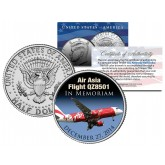 Air Asia Flight Q28501 - In Memoriam - Colorized 2014 JFK Kennedy Half Dollar U.S. Coin