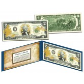 United States AIR FORCE $2 Bill U.S. Genuine Legal Tender - GOLD LEAF Laser Line - MILITARY