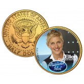 ELLEN DeGENERES American Idol 2009 JFK Kennedy Half Dollar 24K Gold Plated US Coin